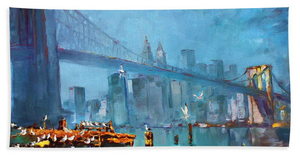 Landscape Beach Towel featuring the painting Brooklyn Bridge by Ylli Haruni