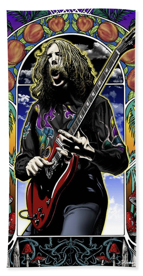 Duane Allman Beach Towel featuring the drawing Brother Duane by Gary Kroman