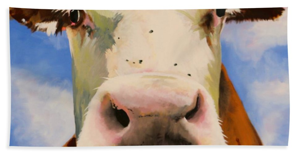 Cow Beach Towel featuring the painting Brown Cow by Lori A Johnson