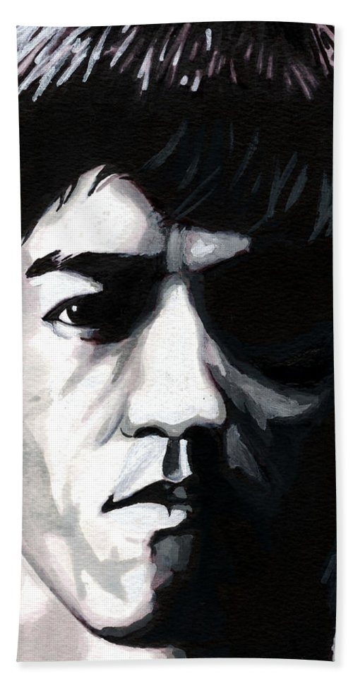 Bruce Lee Beach Towel featuring the mixed media Bruce Lee Portrait by Alban Dizdari