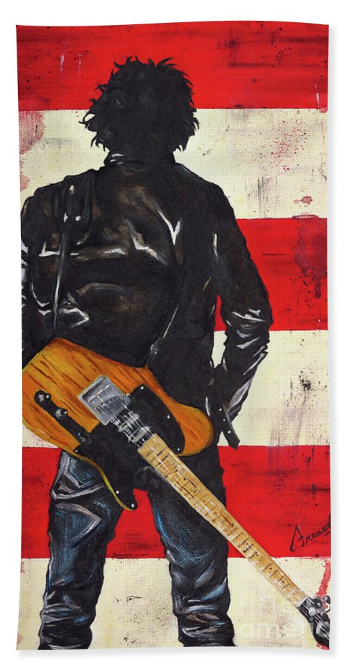Bruce Springsteen Beach Towel featuring the painting Bruce The Boss Springsteen by Francesca Agostini