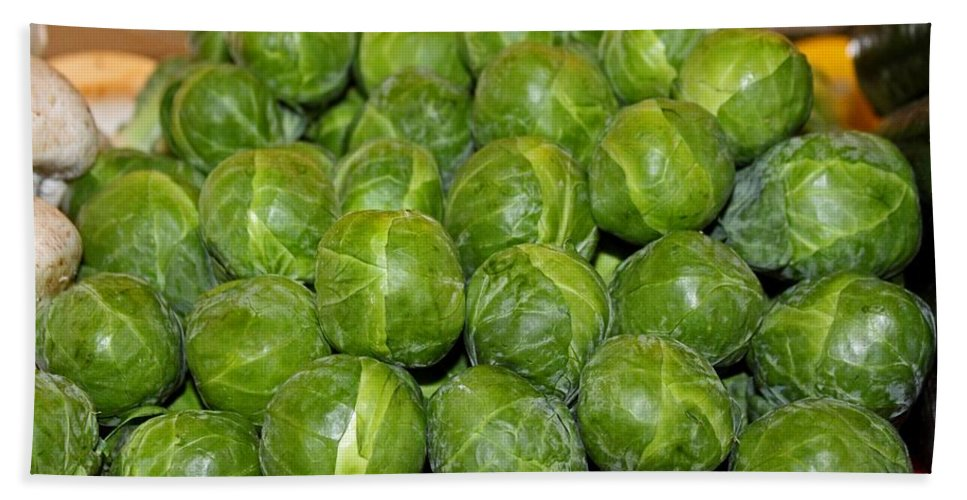 Brussel Sprouts Beach Towel featuring the photograph Brussel Sprouts by Michiale Schneider