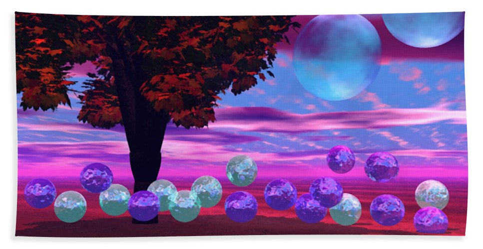 Red Beach Towel featuring the digital art Bubble Garden by Diane Clancy