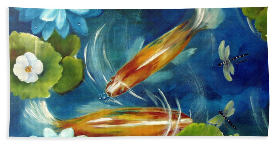 Koi Beach Towel featuring the painting Bubble Maker by Carol Sweetwood