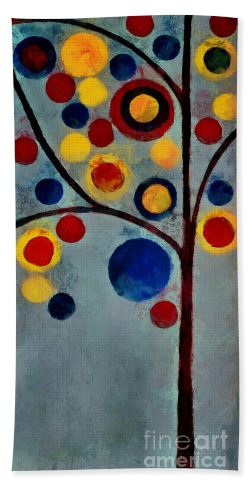 Tree Beach Towel featuring the painting Bubble Tree - Dps02c02f - Left by Variance Collections