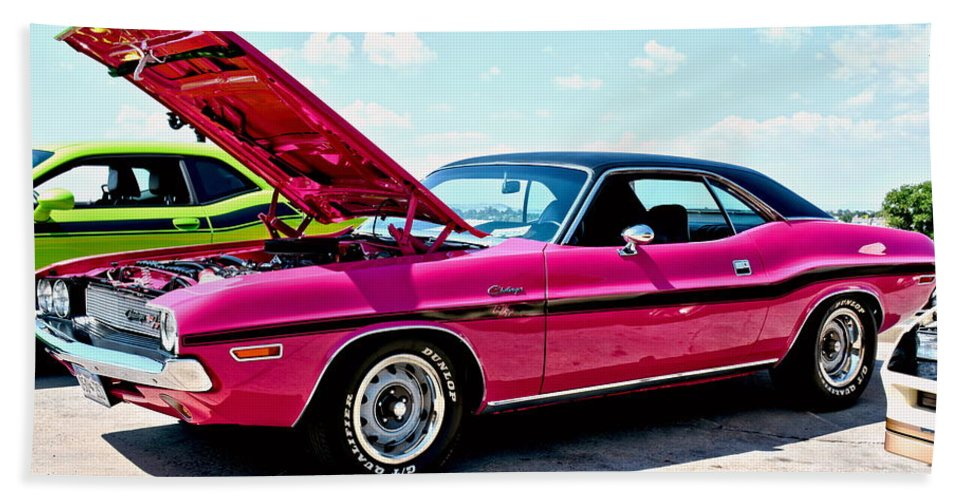 Bubblegum Pink Classic Dodge Challenger Beach Sheet for Sale by Amy ...