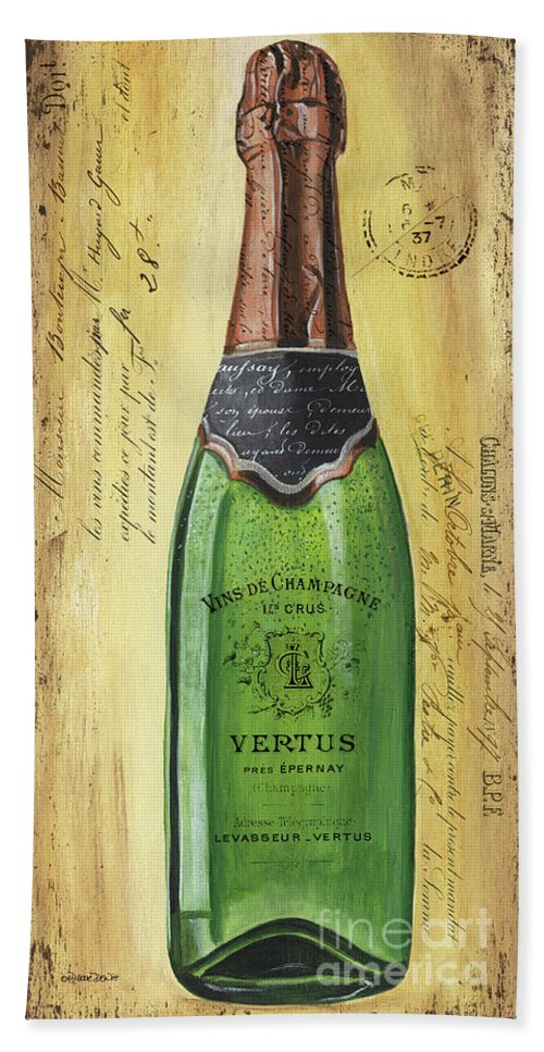 Alcohol Beach Sheet featuring the painting Bubbly Champagne 2 by Debbie DeWitt