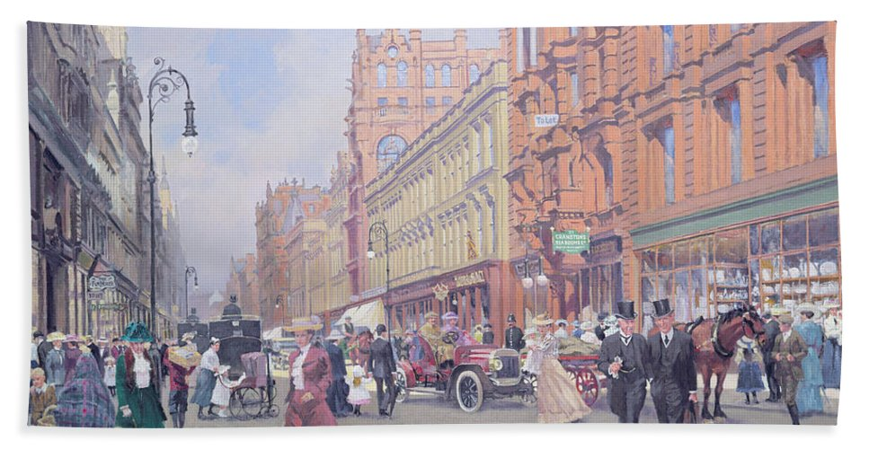 Daily Life Scene Beach Towel featuring the painting Buchanan Street by William Ireland