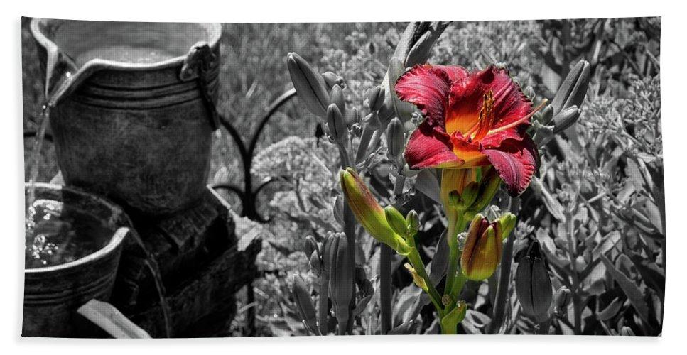 Summer Beach Towel featuring the photograph Buckets Of Water And A Splash Of Flower by Deborah Klubertanz