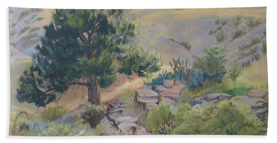 Pine Tree Beach Towel featuring the painting Buckhorn Canyon by Heather Coen