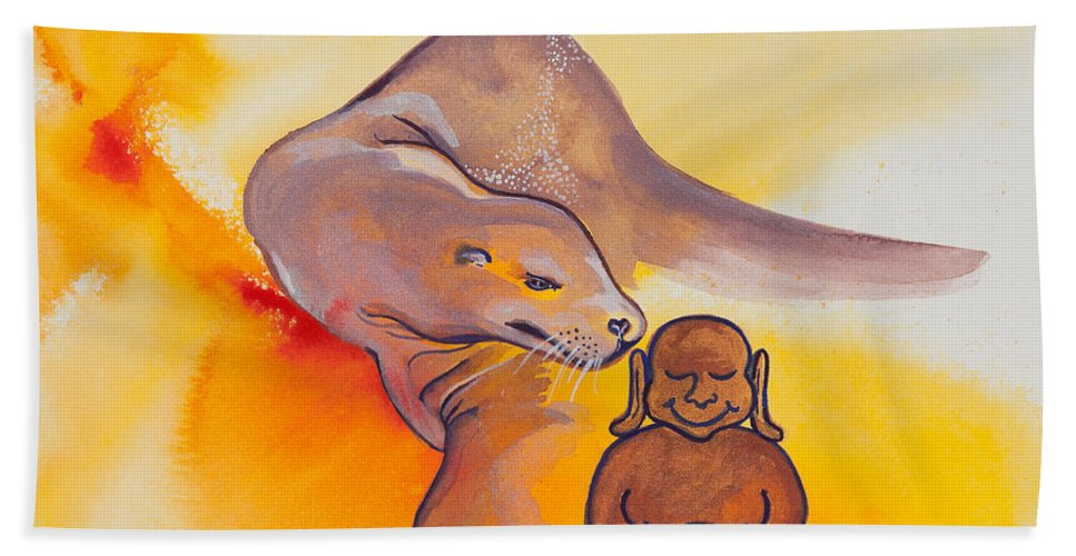 Ilisa Millermoon Beach Towel featuring the painting Buddha And The Divine Sea Lion No. 2089 by Ilisa Millermoon