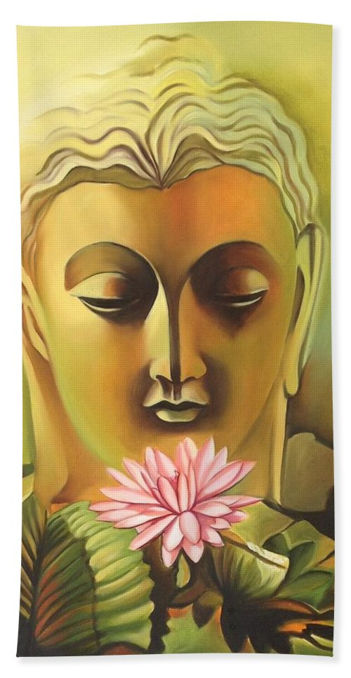 Buddha Canvas Oil Art Handmade Indian Buddhist Spiritual Wall Decor Painting Beach Towel