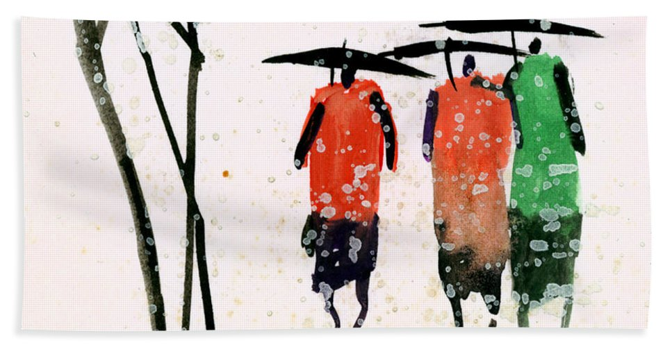 People Beach Towel featuring the painting Buddies 3 by Anil Nene