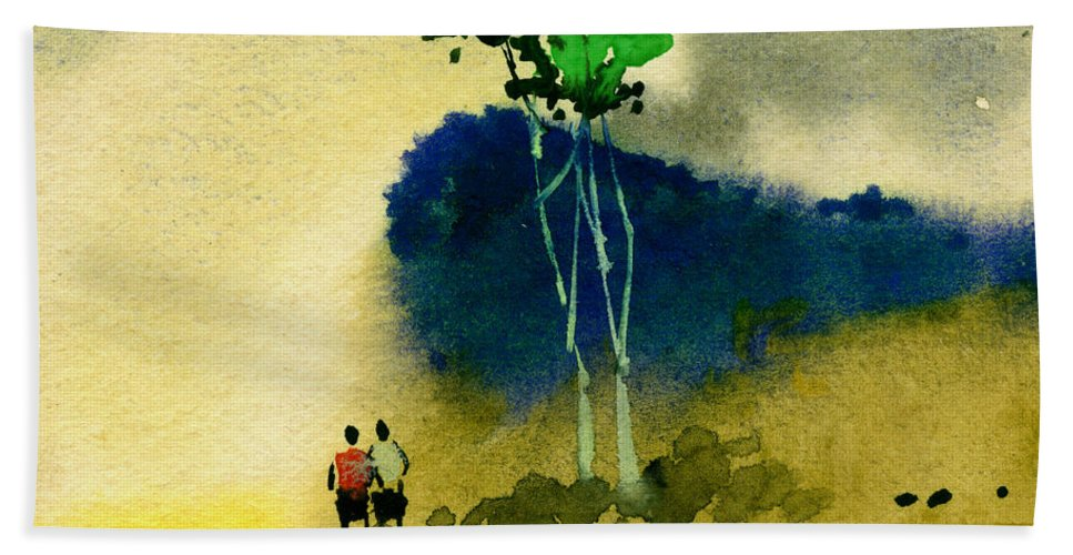 Landscape Beach Towel featuring the painting Buddies by Anil Nene