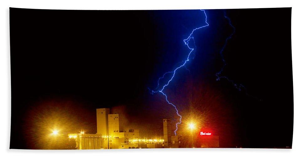 Budweiser Beach Towel featuring the photograph Budweiser Lightning Strike by James BO Insogna