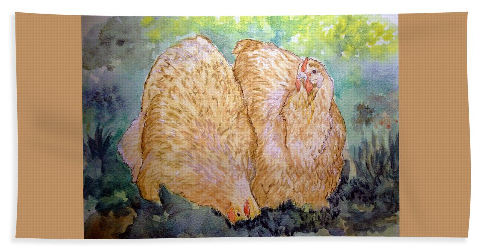 Orpington Beach Towel featuring the painting Buff Orpington Hens In The Garden by Susan Baker