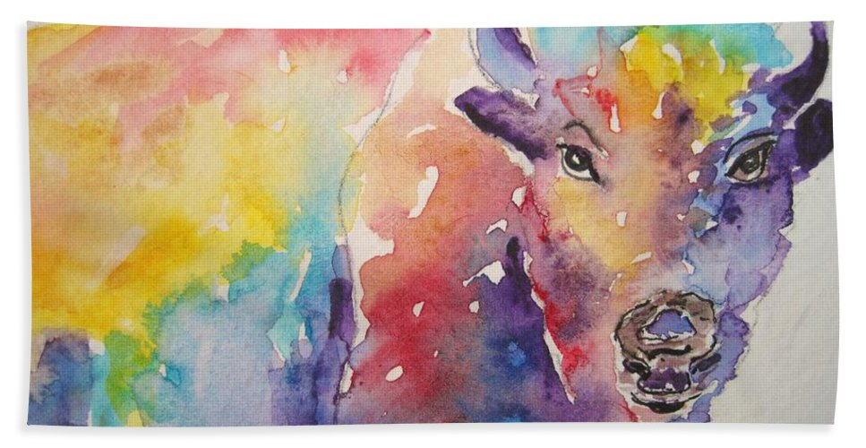 Animal Beach Towel featuring the painting Buffalo by Corynne Hilbert