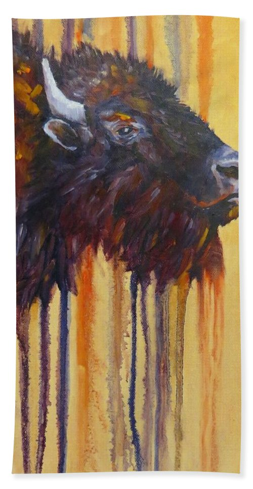 Oil Painting Beach Towel featuring the painting Buffalo Mania by Sandra Reeves