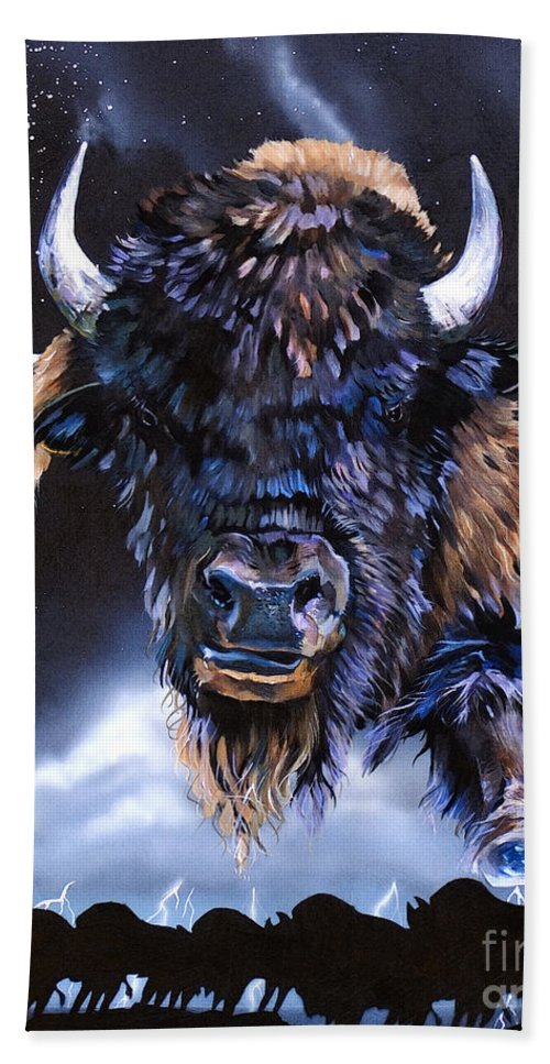 Buffalo Beach Sheet featuring the painting Buffalo Medicine by J W Baker