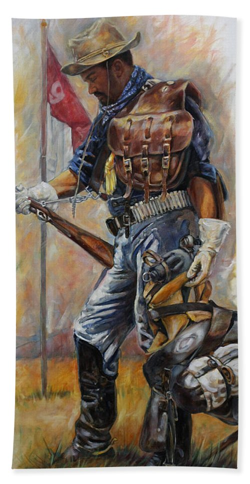 Buffalo Soldier Beach Towel featuring the painting Buffalo Soldier Outfitted by Harvie Brown