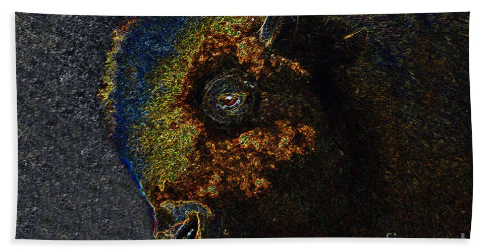 Art Beach Towel featuring the painting Buffalo Vision by David Lee Thompson