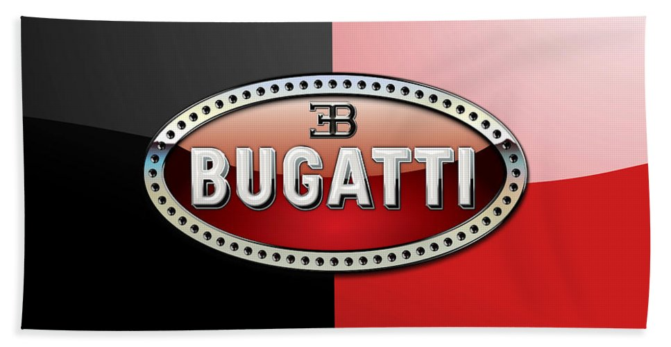 Wheels Of Fortune By Serge Averbukh Beach Towel featuring the photograph Bugatti 3 D Badge On Red And Black by Serge Averbukh