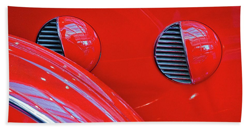 Lasalle Beach Towel featuring the photograph Buick Lasalle Portholes And Fender #3 by Stuart Litoff