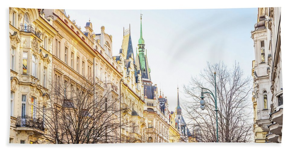 City Beach Towel featuring the photograph Buildings In Prague by Svetlana Sewell