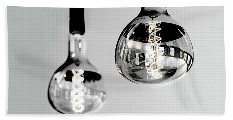 Black And White Beach Towel featuring the photograph Bulbs - Black And White by Winston Wolf