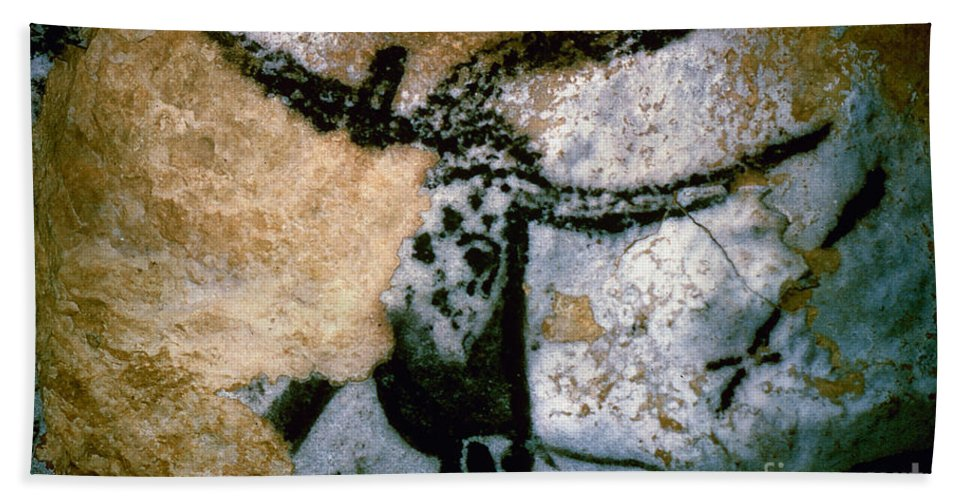 Bull Beach Towel featuring the photograph Bull: Lascaux, France by Granger