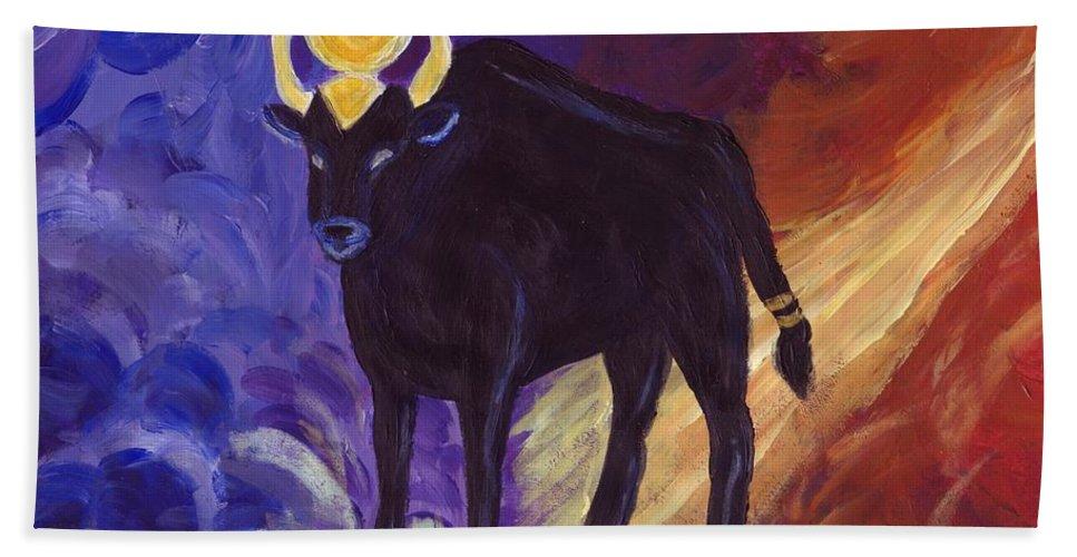Taurus Beach Towel featuring the painting Bull Of Heaven by Cassandra Geernaert