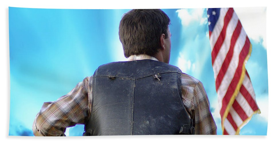 2d Beach Towel featuring the photograph Bull Rider by Brian Wallace
