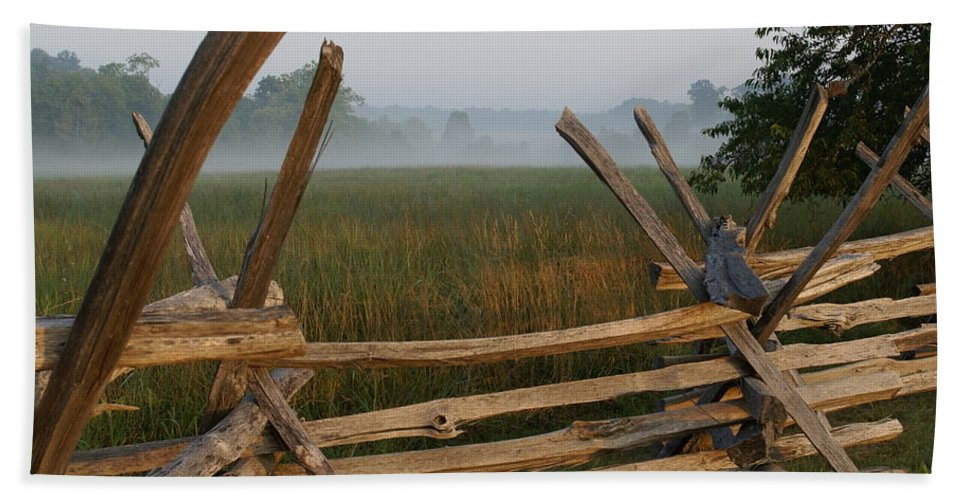 Fence Beach Towel featuring the photograph Bull Run Virginia by Heidi Poulin