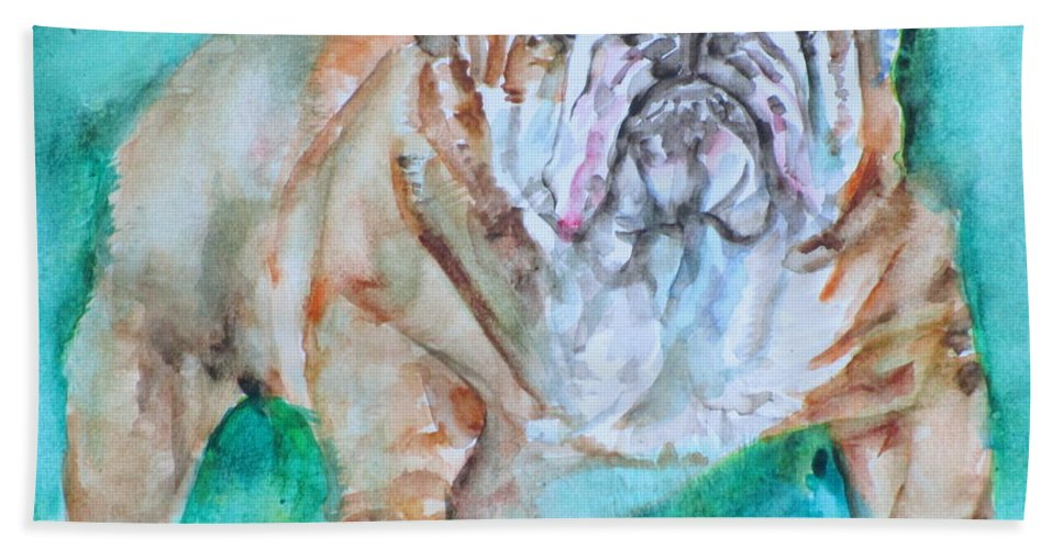 Bulldog Beach Towel featuring the painting Bulldog - Watercolor Portrait.6 by Fabrizio Cassetta
