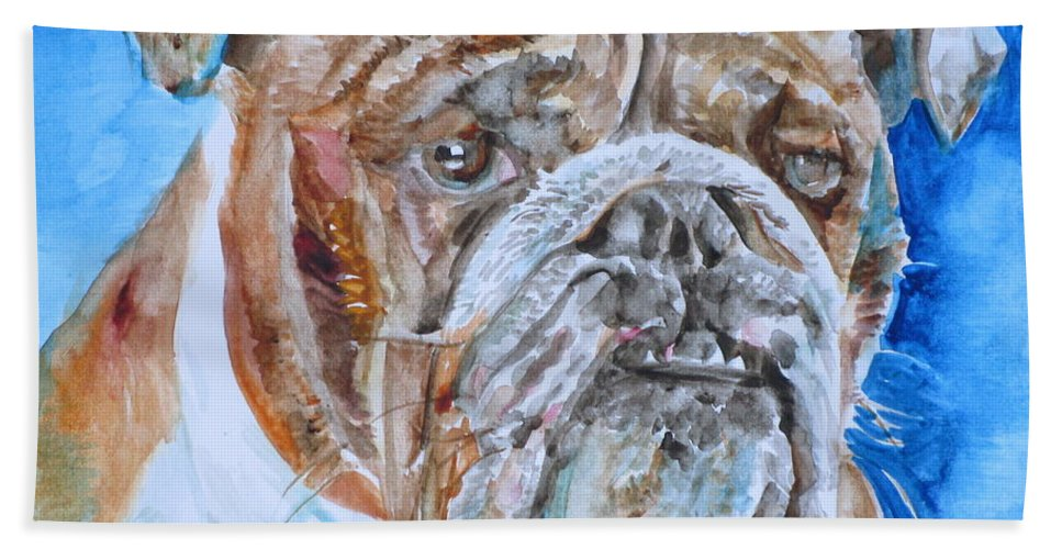Bulldog Beach Towel featuring the painting Bulldog - Watercolor Portrait.8 by Fabrizio Cassetta