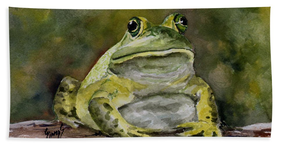 Frog Beach Towel featuring the painting Bully by Sam Sidders