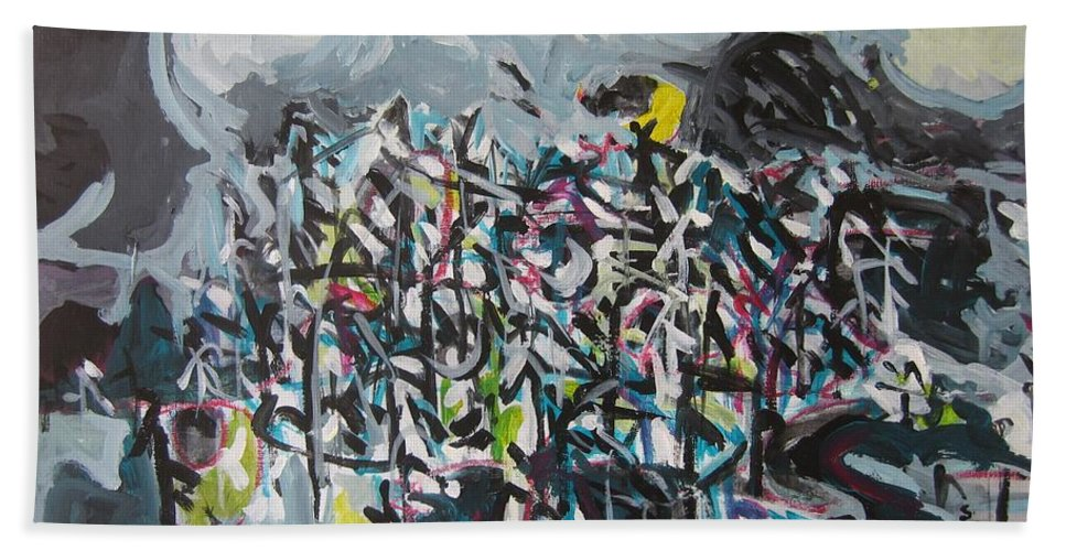 Abstract Paintings Beach Towel featuring the painting Bummer Flat11 by Seon-Jeong Kim