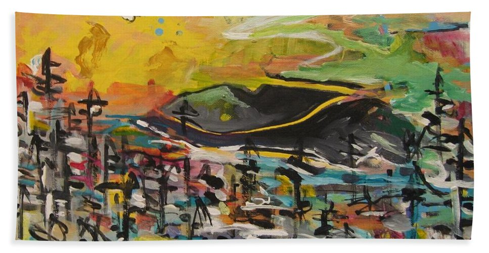 Abstract Paintings Beach Towel featuring the painting Bummer Flat2 by Seon-Jeong Kim
