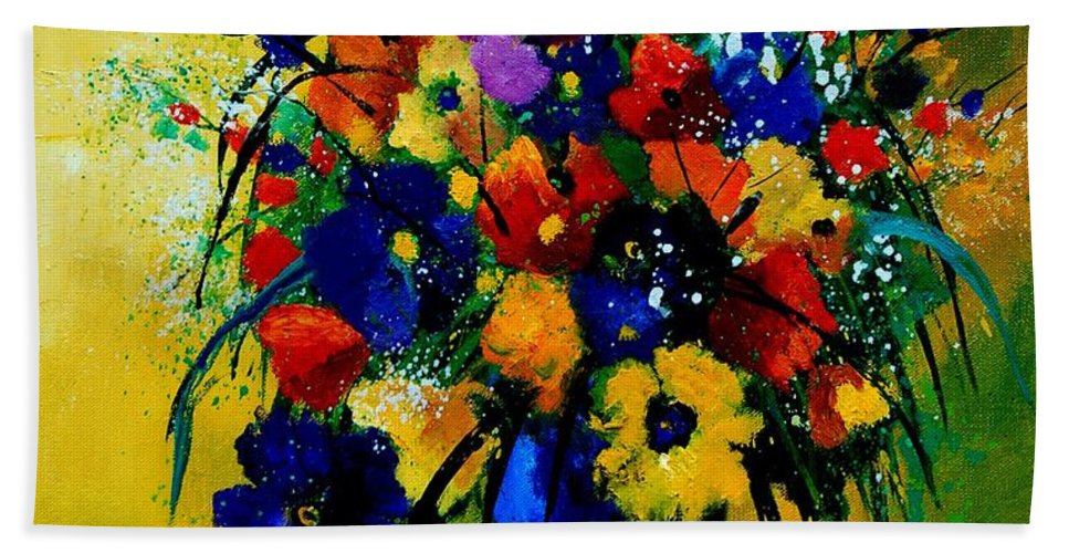 Poppies Beach Sheet featuring the painting Bunch 0508 by Pol Ledent