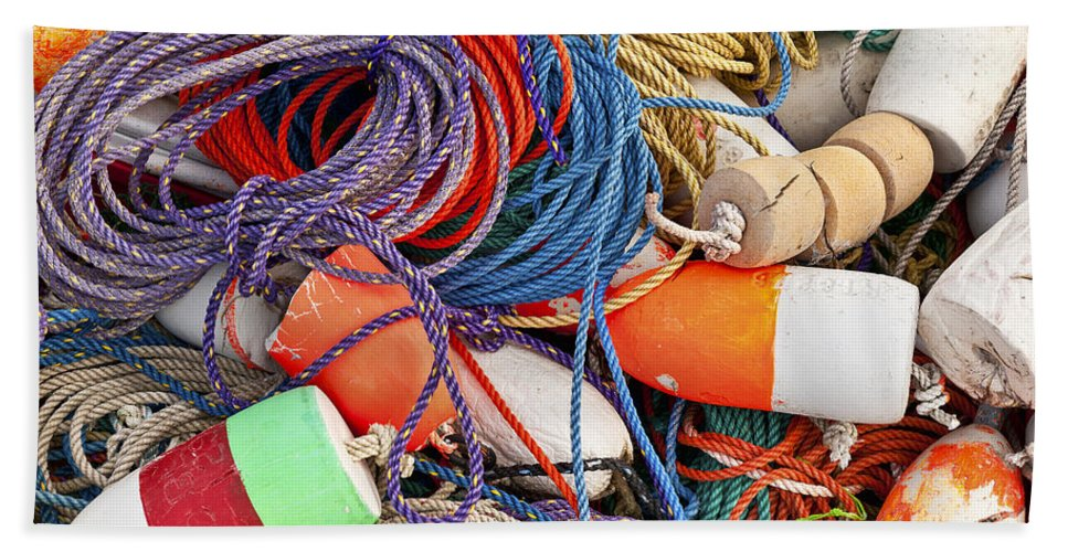 Maine Beach Towel featuring the photograph Buoys And Rope by John Greim