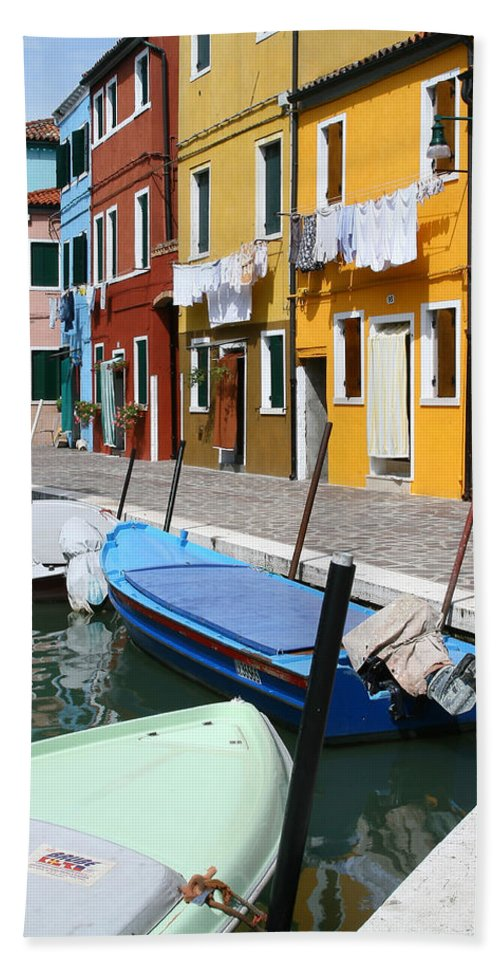 Burano Beach Towel featuring the photograph Burano Corner With Laundry by Donna Corless