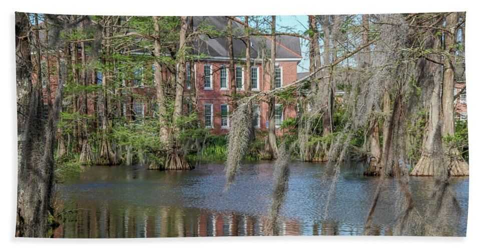 Beach Towel featuring the photograph Burke Hall Cypress Lake by Gregory Daley MPSA