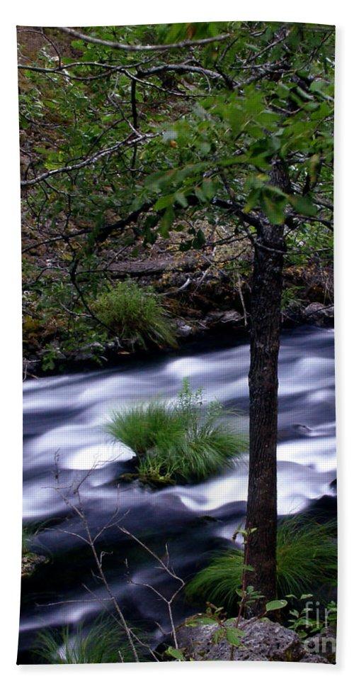 River Beach Towel featuring the photograph Burney Creek by Peter Piatt