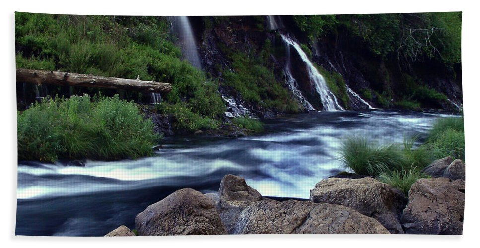 River Beach Towel featuring the photograph Burney Falls Creek by Peter Piatt
