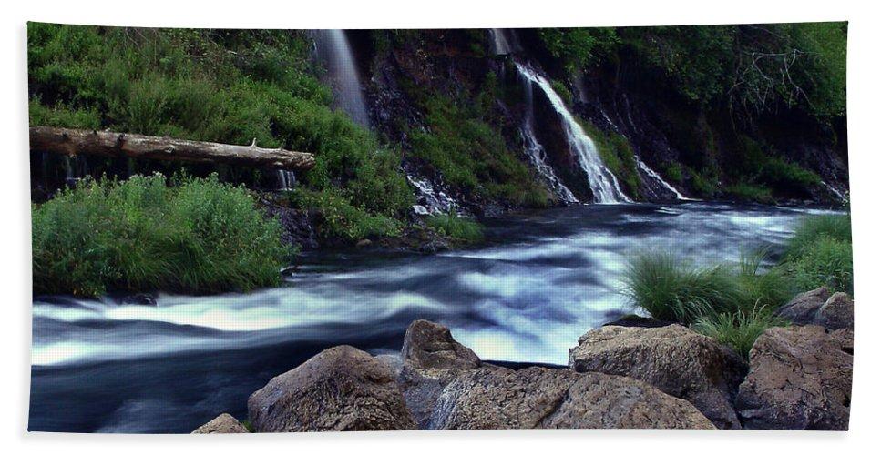 River Beach Sheet featuring the photograph Burney Falls Creek by Peter Piatt