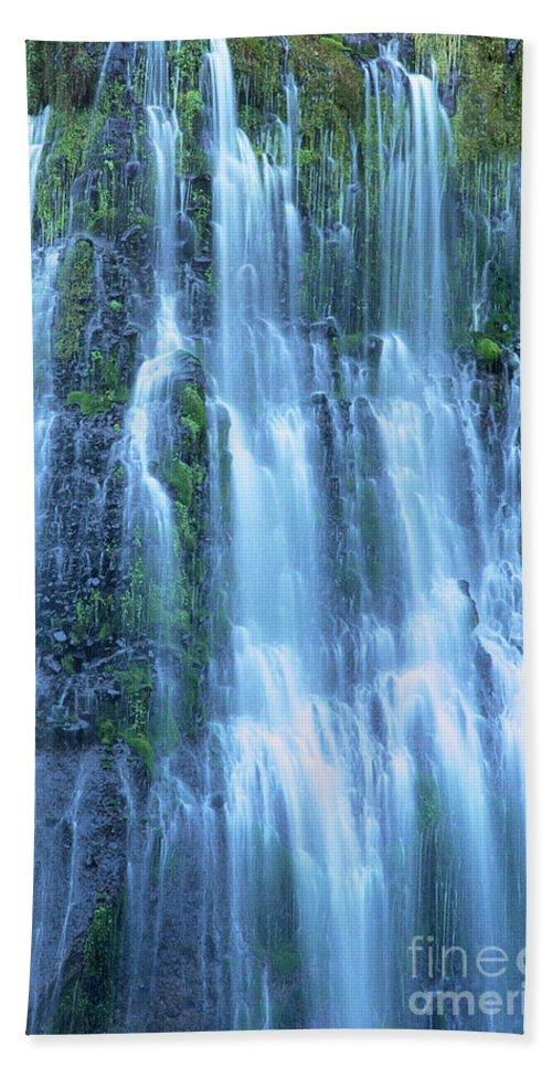 Burney Falls Beach Towel featuring the photograph Burney Falls Mist Mcarthur Burney Sp California by Dave Welling