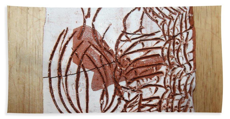 Jesus Beach Towel featuring the ceramic art Burning Bush - Tile by Gloria Ssali