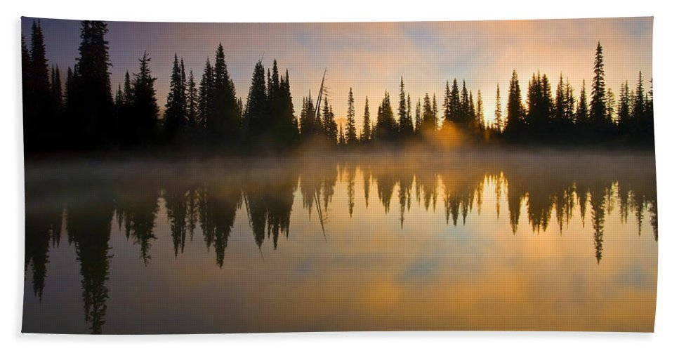 Lake Beach Towel featuring the photograph Burning Dawn by Mike Dawson