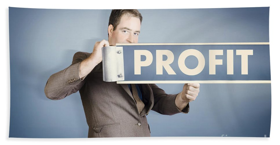 Financial Beach Towel featuring the photograph Business Man Holding Financial Profit Street Sign by Jorgo Photography - Wall Art Gallery