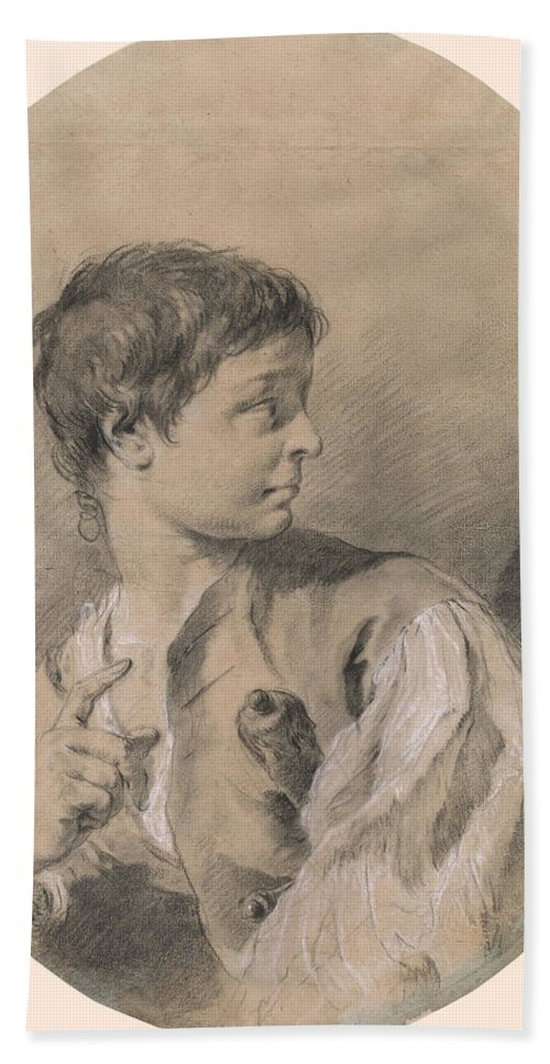 Giovanni Battista Piazzetta 1682-1754 Bust Of A Boy In Profile Holding A Sword Beach Towel featuring the painting Bust Of A Boy In Profile Holding A Sword by Giovanni Battista